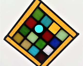 Golden Brown Border 5-1/8x5-1/8 Multi Colored Staied Glass