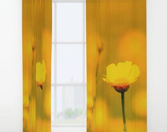 Yellow Daisy Flower Curtain, Window Curtains, Yellow Curtains, Nature  Decor, Yellow Home