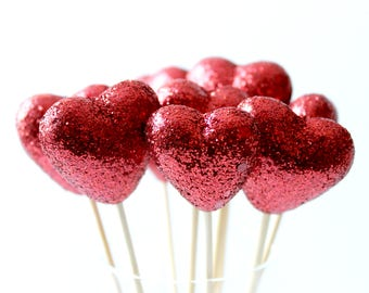 Red Sparkly Heart Drink Stirrers, Champagne Toppers, Valentines Day, Wedding Decor