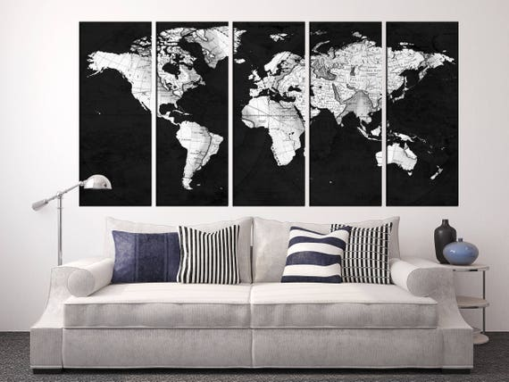 Black and white old world map wall art world map grey world like this item gumiabroncs Image collections
