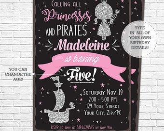 Princess and Pirate Party Invitation - Princess and Pirate Birthday Invitation - Glitter Princess - Download & Personalize in Adobe Reader
