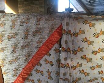 Orange Giraffe Blanket Set