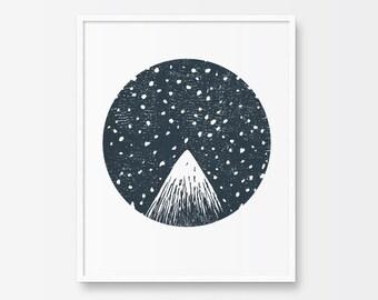 Printable Art, Mountain Peak, Starry Night, Circle Print, Black and White, Minimalist Illustration, Woodcut, Linocut, Snowy Mountain Print
