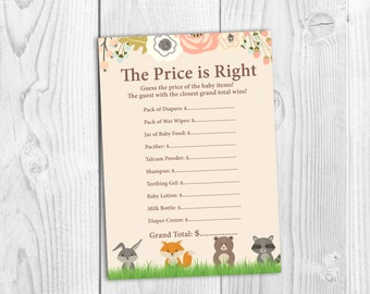 Instant Download, Woodland, The Price Is Right, Boy, Girl, Neutral, Baby Shower Game.