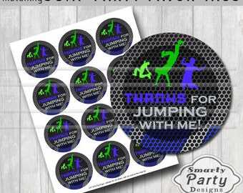 """Jump Trampoline Bounce House Thank You Party Tags Stickers Blue Green Printable 2.5"""" Circles PDF - Instant Download"""