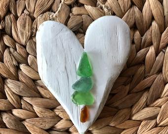 Rustic wood heart beach glass