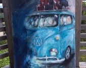 Originale Blue volkswagen ready to hit he road. This painting is framed (blind/closed frame approx 4 cm thick)