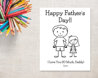 Father's Day Coloring Printable- Girl & Daddy- Father's Day Card from Daughter