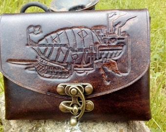 Leather Pouch with Hand Carved Airship Design