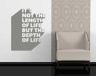 It's Not The Length Of Life BUT The Depth Of Life Wall Sticker - Life Quote Wall Decal , Wall Sticker , Love Life Wall Decoration