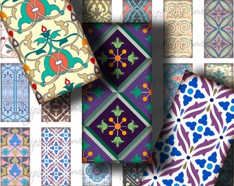 Tiles From Around The World (3) Digital Collage Sheet - 30 Dominos 1x2 inch or bamboo size with Tile Patterns - Buy 3 Get 1 Extra Free