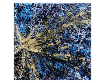 Small square abstract painting, gold blue black, abstract painting, gold decor, gold art, mini art, desk art, 4 x 4 inches, free shipping