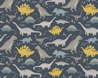 18 x 40 LAMINATED cotton fabric (similar to oilcloth)  Dinosaur Main EXCLUSIVE - Approved for children's products