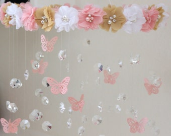 Crystal Baby Mobile, Pink Baby Mobile, Flower Baby Mobile,  Pink flower mobile,  Baby Mobile