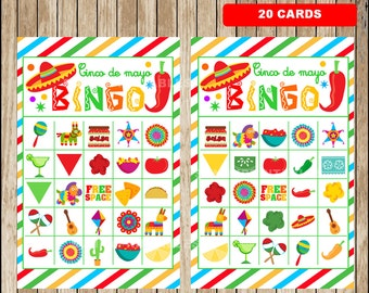 Mexican fiesta Bingo Game - Printable - 20 different Cards - Party Game Printable - Half Page Size - INSTANT DOWNLOAD