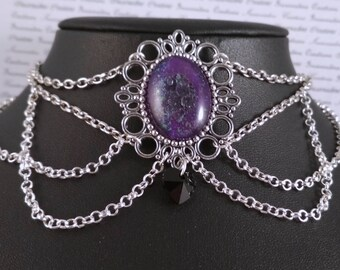 Handpainted purple speckle stone and silver chain choker necklace gothic victorian