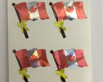 Prismatic Canadian Flag Stickers.  2 squares