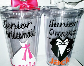 Junior Bridesmaid Gift - Wedding Tumbler - Personalized Junior Bridemaid Any Color Any Design Custom