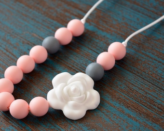 Flower Silicone Teething Necklace, Rose Silicone Teething Beads, Toddler Sensory Necklace, Silicone Flower, Light Pink, Gray and White