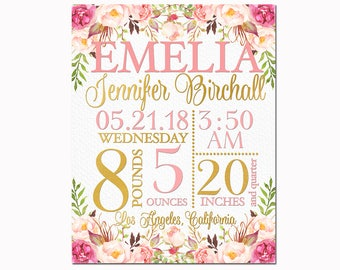Floral Nursery art personalized baby shower gift pink girl custom birth stats details statistics announcement wall decor newborn toddler
