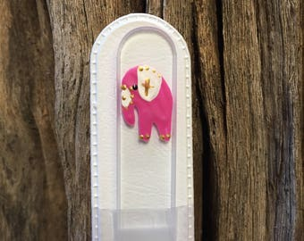 Crystal Glass Nail File - Handpainted Asian Elephant on Czech Crystal Glass