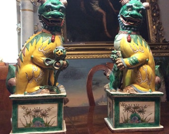 Exceptional and rare Large Antique Chinese Foo dogs