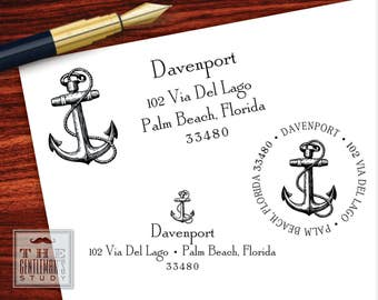 Anchor Pre Inked Stamp - Traditional or Round Stamp - Nautical Return Address Stamper - Black Ink Self Inking Stamp - New Home Gift for Man