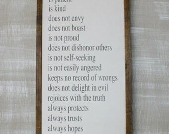 1 Corinthians 13 Wood Sign Love Wooden Sign Bible Verse Wall