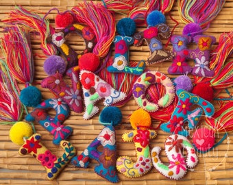 Mexican Hand Embroidered Alphapet Letters with pom-poms and Tassels / Custom Made Letters
