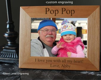 Pop Pop Gifts, Grandparents Picture Frame, Wooden Grandfather Frame, Grandfather Gift Engraved Wood Picture Frame, Fathers Day Gift