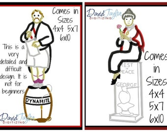 Haunted Mansion Stretch Portraits 4 Pack Embroidery Design 4x4 5x7 6x10-Applique Instant Download-DTDigitizing Elevator Statue Halloween
