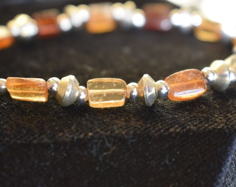 Hessonite Garnet Gemstone with 925 Sterling Silver Findings