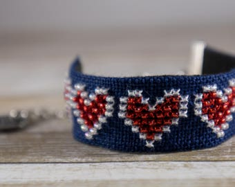 Hand Embroidered Bracelet - Hearts