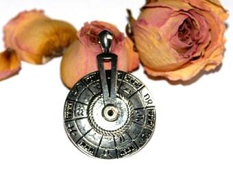 Wheel pendant Zodiac antique silverplate 52X36mm