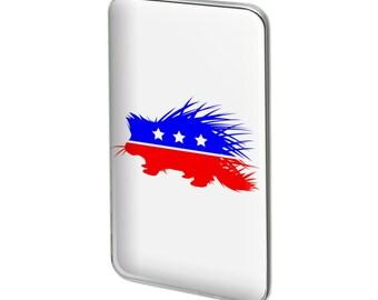 Libertarian party porcupine metal rectangle lapel hat pin tie tack pinback