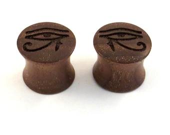 "Eye of Horus Walnut Wooden Plugs - 2g (6mm) through 1 3/4"" (44mm) including 0g 00g 7/16"" 1/2"" 9/16"" 5/8"" 3/4"" 7/8"" Ra Rah wood ear gauges"