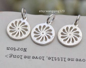 3 pcs sterling silver flower round charm pendant flower , NR9