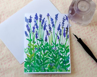Lavender Flowers Watercolor Herbs Blank Card Set Of Four Rosemary Sunflowers