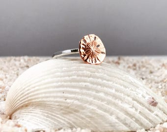 Sand Dollar Ring stacking ring, Beach Ring, Nautical Ring, Tinny Sand Dollar, Hammered Ring, Gift for Her