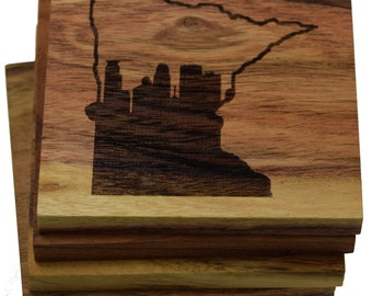 Minneapolis Skyline Coasters - Skyline Inside of Minnesota Outline - Set of Four Engraved Wood Coasters
