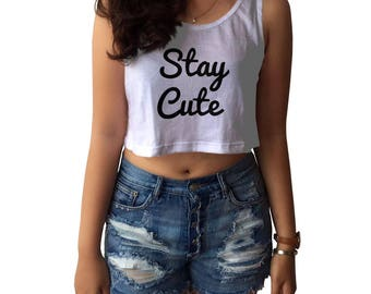 Stay Cute Crop Tank Top College T-Shirt