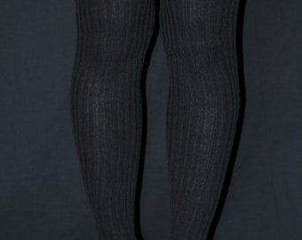 Extra Long Stirr-up Knit Legwarmers Black