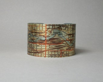 Cuff Bracelet Spokane Washington Map Unique Gift for Men or Women