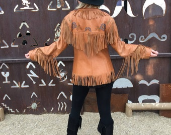 Vintage 1950's 'Chris Line Originals' Cowgirl Jacket | Fringe Leather | Beaded Flowers | Rodeo | Western