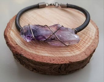 Deep Purple Rough Amethyst Stone Bracelet, Gunmetal and Leather Band, Rustic Style, Unisex Gifts For Her or For Him