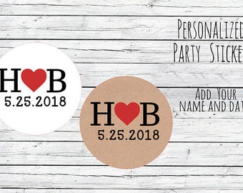 Personalized Kraft Wedding Love Initials, Wedding Stickers, Favor Tags, Favor Stickers, DIY Wedding Labels, Printed Labels, Monogram, Script