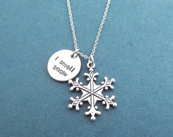 I smell snow, Snowflake, Silver, Necklace, Gilmore, Lorelai, Necklace, Birthday, Best friends, Sister, Gift, Jewelry