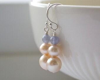Gemstone Earrings, Genuine Tanzanite, Cultured Pearls Sterling Silver, Luxury Earrings, December Birthstone, Blue Cream, Bridal Jewellery