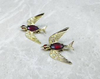 Vintage Bird Brooch, Vintage Bird Pin, Matching Bird Brooch, Red Bird Brooch, Red Bird Pin, win Bird Brooch, Duet Bird Brooch, Double Birds