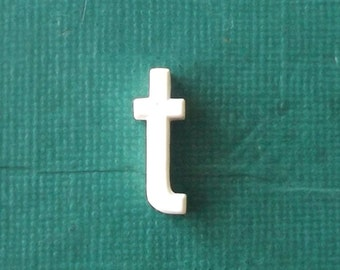 vintage. miniature. letter. white. home decor. industrial. lowercase. lowercase letter. t. initial. personalized. for him. for her